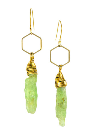 Green kyanite spear earrings with brass hexagon and gold filled ear wire. Handmade by Sonia Lub.