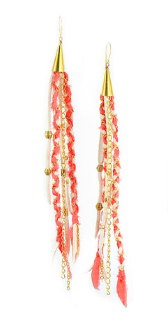 Hot Salmon Pink and White Recycled Indian Silk Saree and Leather with Gold Vermeil Handmade Medium Long Cone Earrings