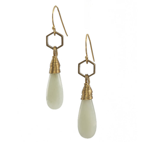 Jade Tear Gold Kin Earrings