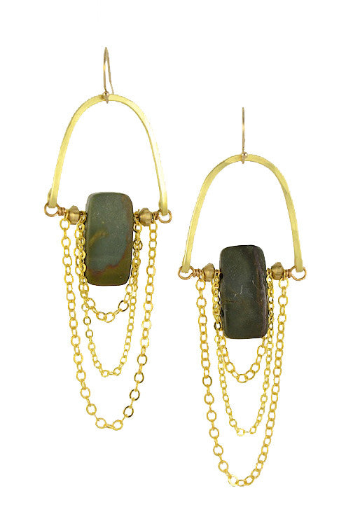 Brass Chain Earrings with Jasper