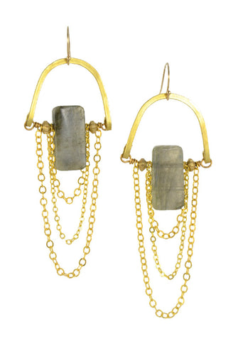 """Labradorite Stone"" - Gold Brass... Rise Collection by Sonia Lub"