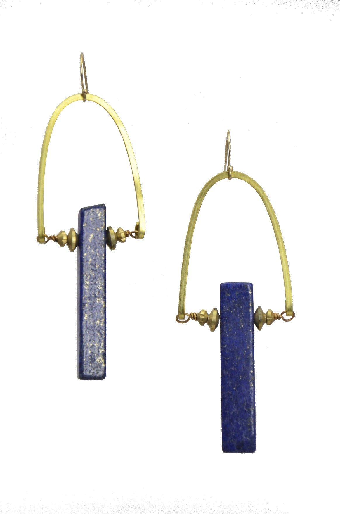 Raw Lapis Lazuli Gold Brass Earrings