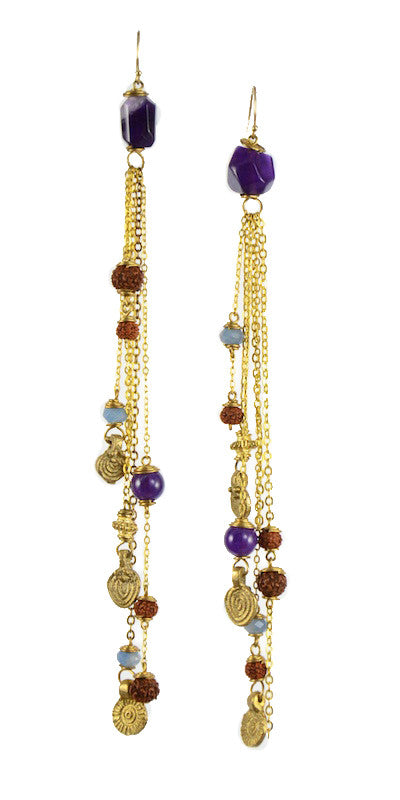 Mother Rudraksha Amethyst with Blue Quartz Chandelier Earrings