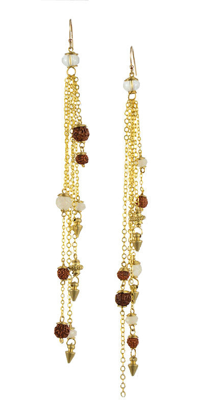 Mother Rudraksha Quartz Crystal and Spectrolite Brass Gold Chandelier Earrings