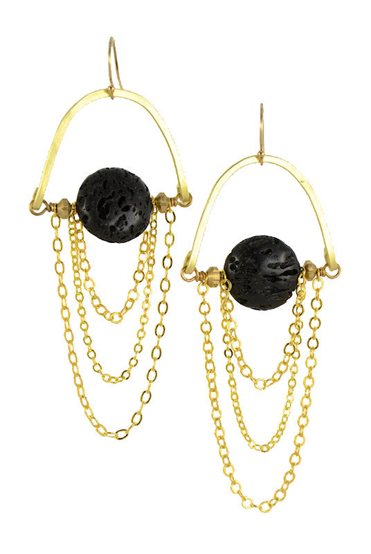 Pele Lava Stone Chain Earrings