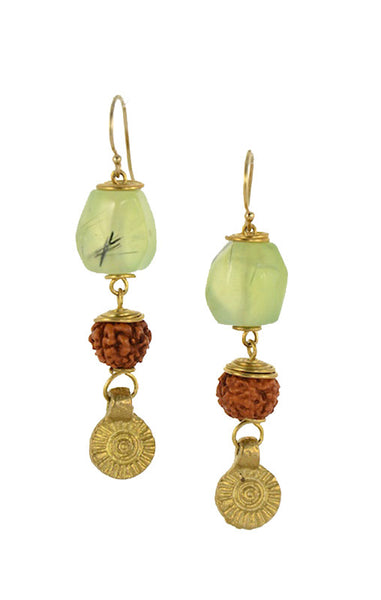 Prehnite Stone with Sandalwood Brass Gold Earrings