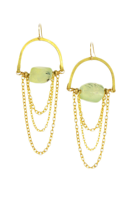 Prehnite Stone Gold Brass MoonRise Earrings