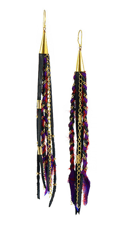 Purple and Black Recycled Indian Silk Saree and Leather with Gold Vermeil Handmade Medium Long Cone Earrings