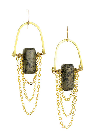 """Pyrite Rectangular Stone"" - Gold Brass... Rise Collection by Sonia Lub"