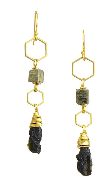 Galactic Kinship- Pyrite with Tektite... Kinship Collection by Sonia Lub