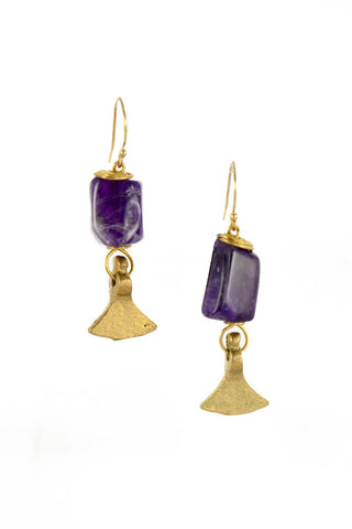 Amethyst Brass Gold Earrings I