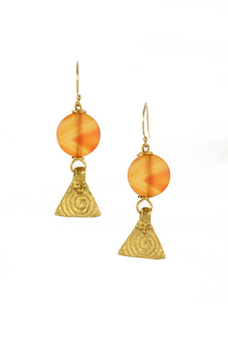 Carnelian Brass Gold Earrings