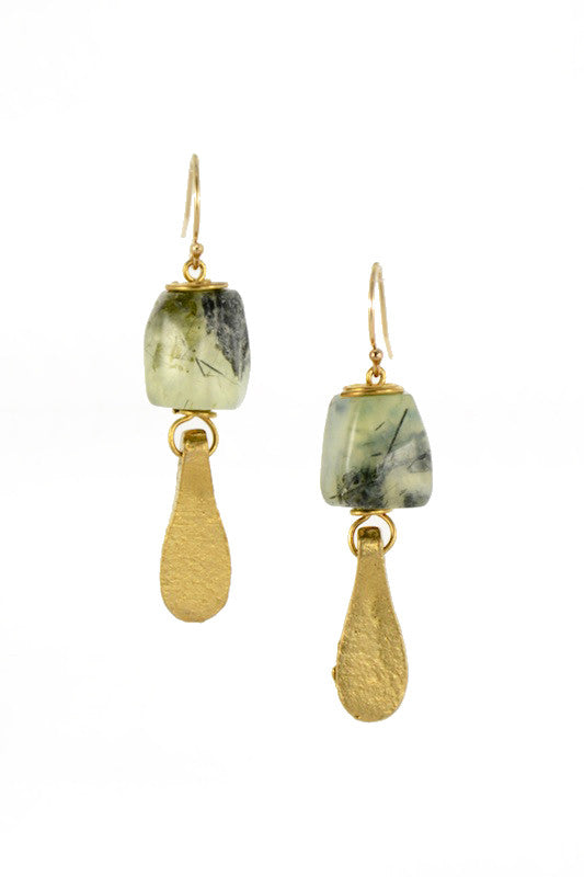 Prehnite Brass Gold Earrings I