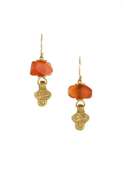 Carnelian Nugget Brass Gold Earrings I