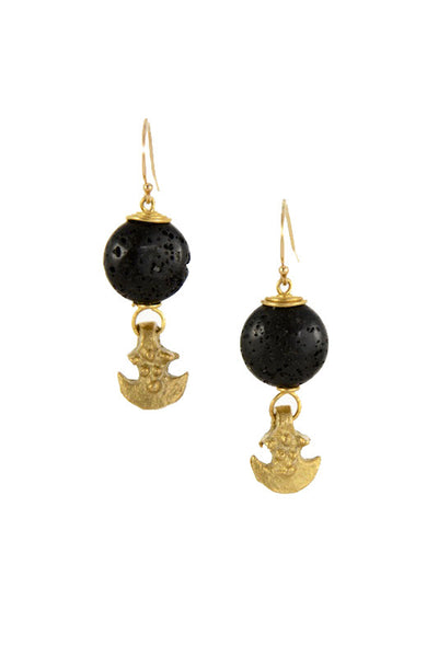 Black Lava Stone Brass Gold Earrings