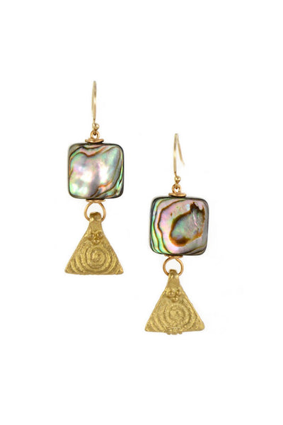 Abalone Square Brass Gold Earrings