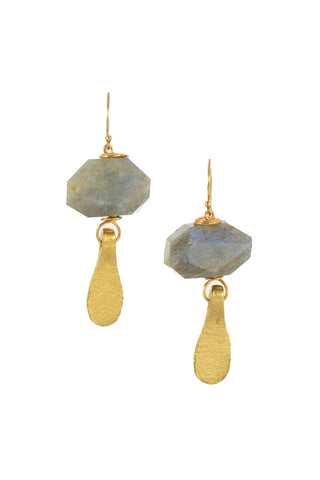 Labradorite Nugget Brass Gold Earrings