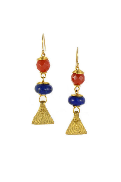 Carnelian Lapis Gold Brass Earrings