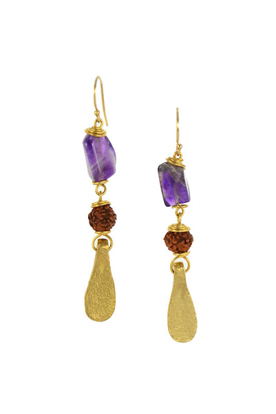 Amethyst Stone with Rudraksha Seed Brass Gold Earrings II