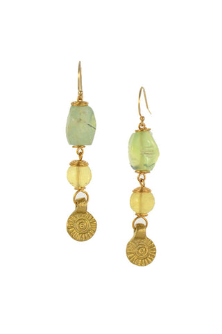 Prehnite Stone with Citrine Brass Gold Earrings