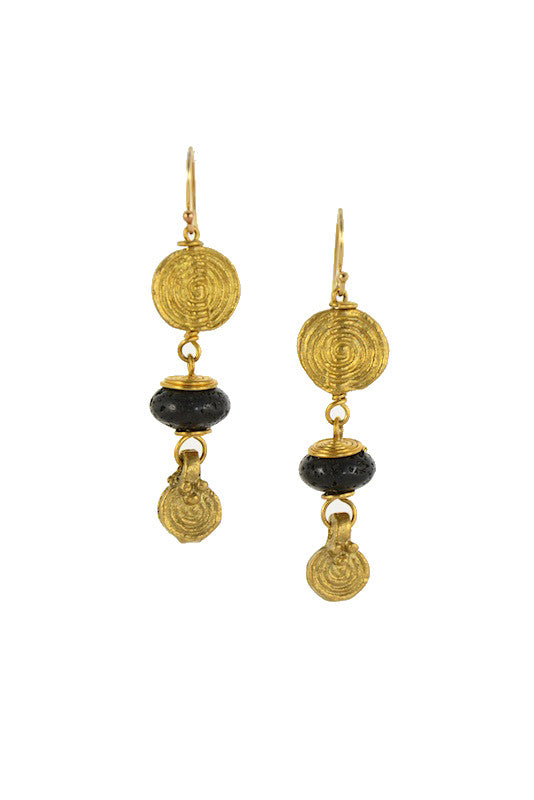 Brass Spiral with Lava Stone Gold Earrings