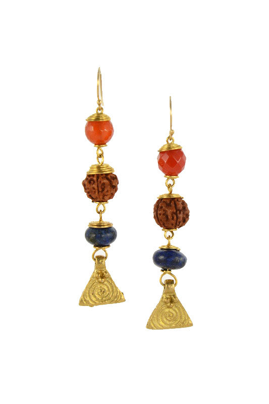 Carnelian and Lapis Lazuli Stone with Rudraksha Seed Brass Gold Earrings