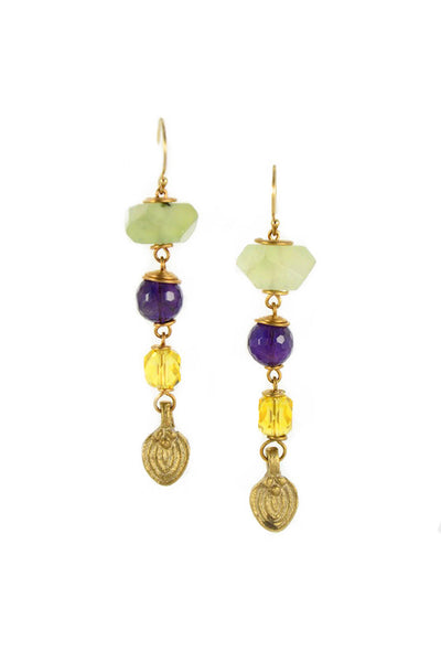 Prehnite crystal nugget with amethyst and citrine crystal brass gold earrings handmade by Sonia Lub.