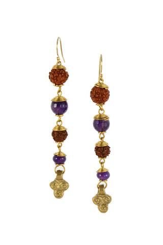Rudraksha Seed with Purple Amethyst Stone Brass Spiral Trinity Gold Earrings