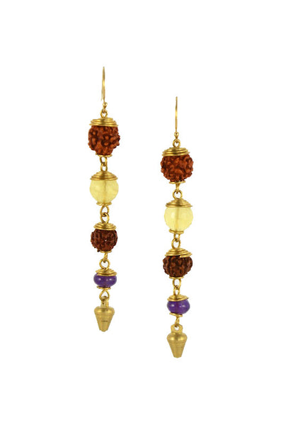 Rudraksha Seed with Citrine and Amethyst Stone Brass Gold Earrings