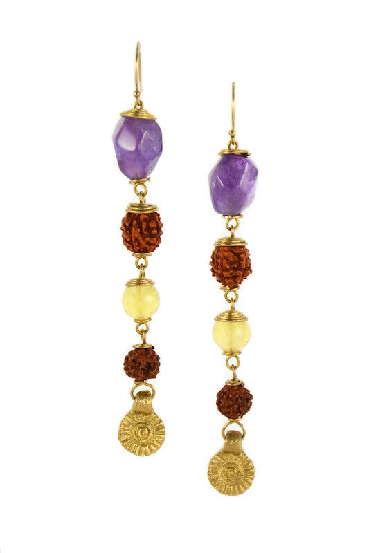 Amethyst, Rudraksha Seed with Citrine - Ru Collection