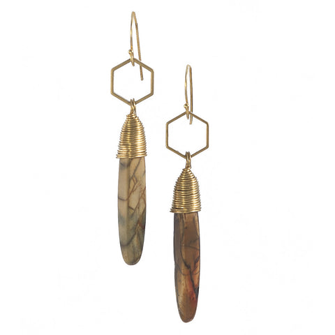 Red Creek Jasper Gold Kin Earrings