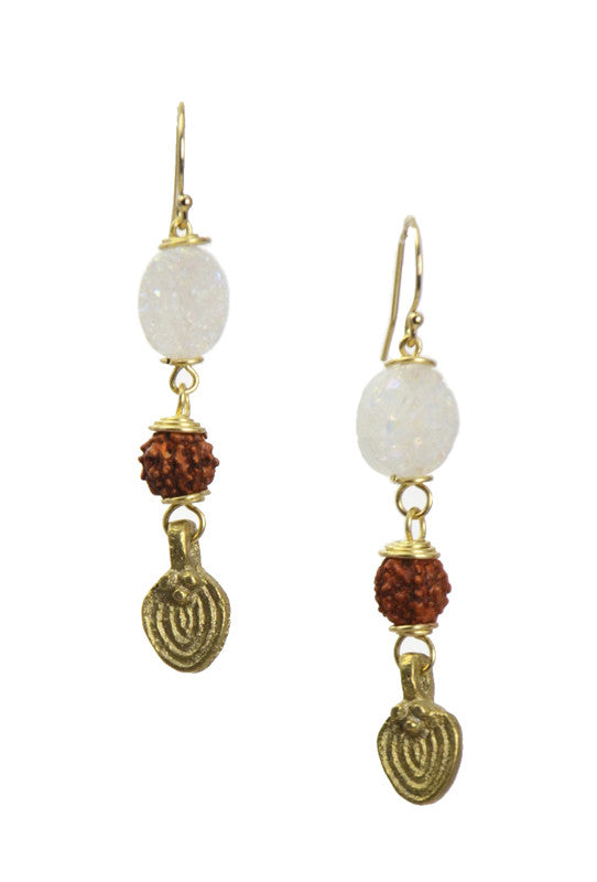 """Druze"" - Quartz Crystal with Rudraksha Seed, Brass Gold... Ru Collection by Sonia Lub"