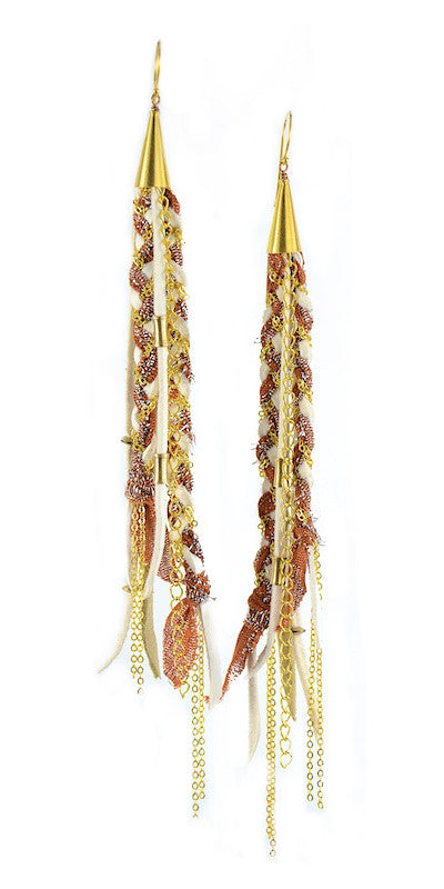 Sparkle Orange and White Recycled Indian Silk Saree and Leather with Gold Vermeil Handmade Medium Long Cone Earrings
