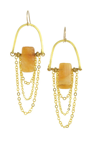 """Yellow Jade Rectangular"" - Gold Brass... Rise Collection by Sonia Lub"