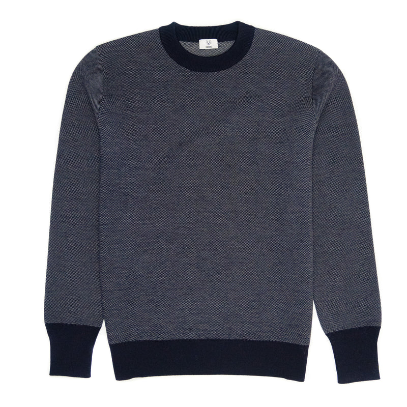 The UNBORN Double Jacuard Sweater in Navy Grey