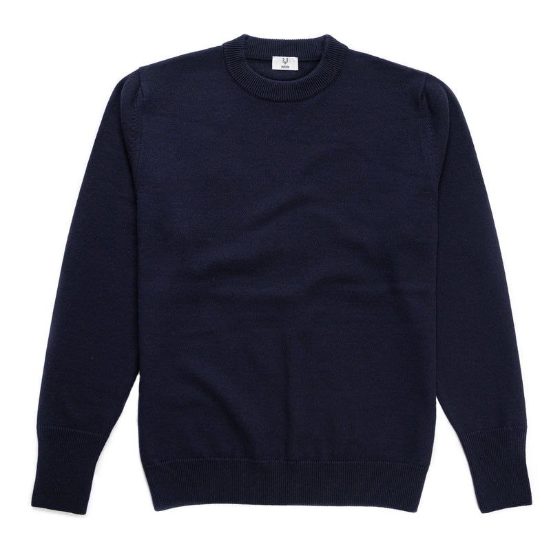 The UNBORN Single Jersey Mid-Weight Merino Wool Sweater in Navy