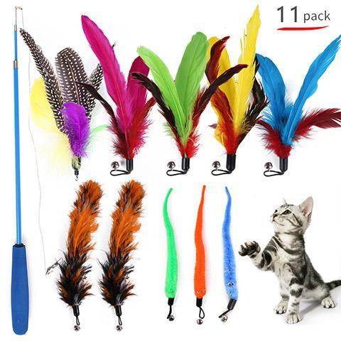 Kitten & Cats Feather Teaser Wand Toys Set