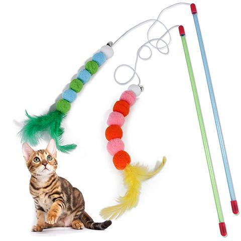 Interactive Cat Feather Teaser Toys with Pompom