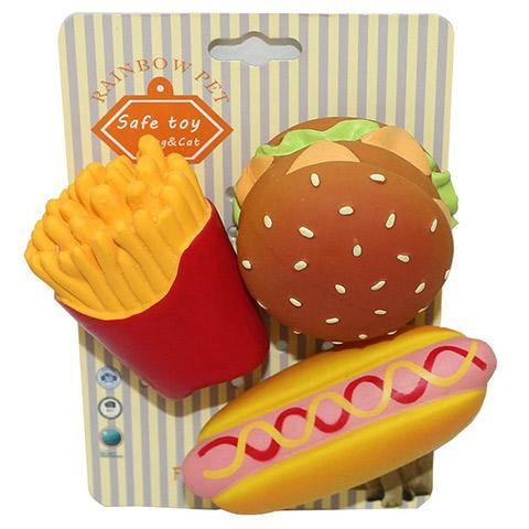 Squeaky Hamburger Fries Dog Latex Food Toys
