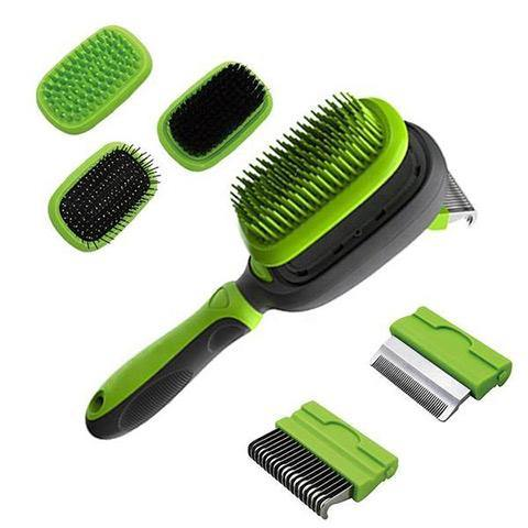 Dog & Cat 5 in 1 Pet Grooming Kit, Dual Side Grooming Brush Set, Detachable Pet Hair Dematting Comb