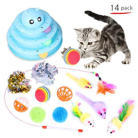 Variety Cat Toy Set Roller Turntable Cat Stick
