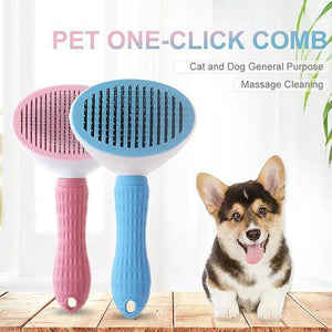 Dogs & Cats Grooming Brush - Self Cleaning Slicker Reducing Shedding Tools for Long & Short Hair