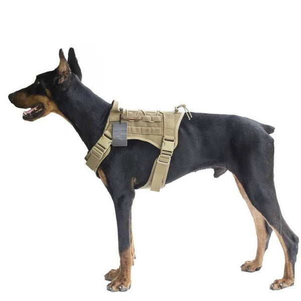Adjustable Dog Tactical & Military Harness with 2 Metal Leash Attachment for Control  & Security