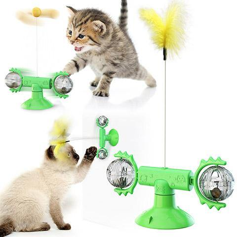 Glowing Turntable windmill funny cat stick toy