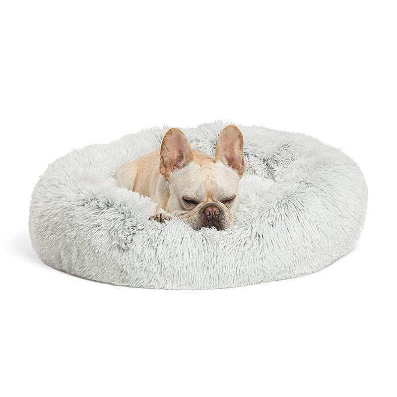 Dog Cat Beds & Mats - Pet Soft Fluffy Plush Round Bed Donut, Washable Self-Warming Cat Dog Cushion Bed For Small Medium Pets