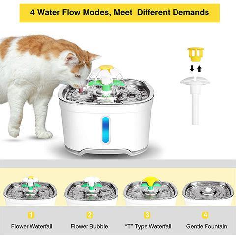 Pet Water Fountain with Intelligent Pump and LED Indicator