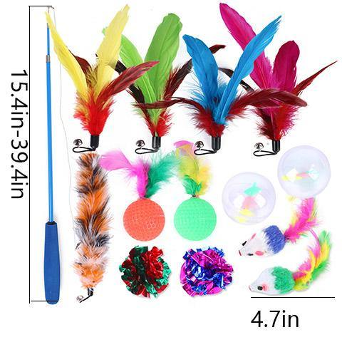 Retractable Interactive Cat Feather Wand Toy Set