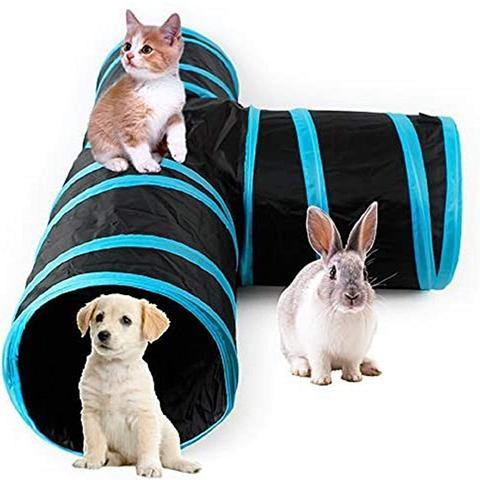 Cat Tunnel Tube 3 Way Tunnels Extensible Collapsible Cat Play Tent