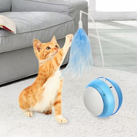 Electric Self Rolling Cat Toys Ball with Feather Wand and Bird Sound