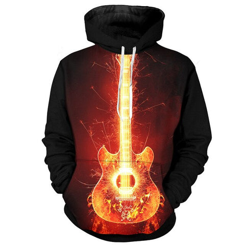 Sweat Vintage Guitare Enflammé
